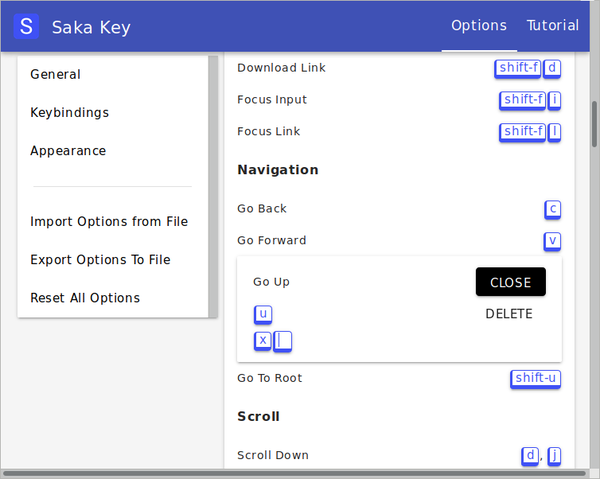 Saka Key settings